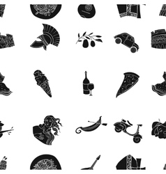 Italy country pattern icons in black style big vector