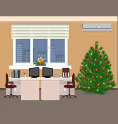 office room interior including christmas design vector image vector image