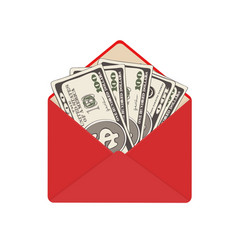 One hundred dollar banknotes in open red envelope vector