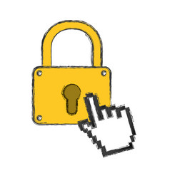 Padlock security pointer hand vector