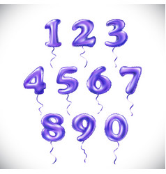 purple number 1 2 3 4 5 6 7 8 9 0 metallic vector image
