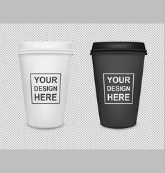 Realistic blank paper coffee cup icon set isolated vector