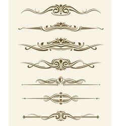 Retro flourishes page dividers decorative vector image