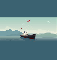 Retro steamer sails into open sea on clear day vector