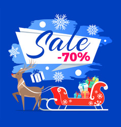 sale -70 poster with reindeer vector image vector image