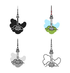 Seoul tower icon in cartoon style isolated on vector