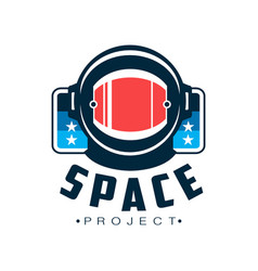 space logo with astronaut s protective helmet vector image