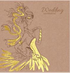 wedding invitation with bride vector image