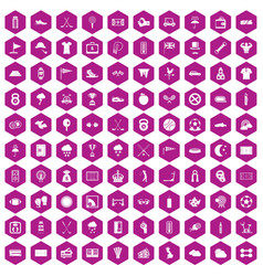 100 golf icons hexagon violet vector