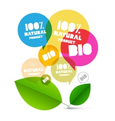 Bio 100 natural product labels colorful vector