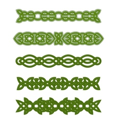 Green celtic ornaments and embellishments vector