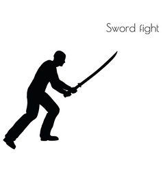 Man in swordfight action pose vector
