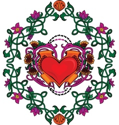 Valentine card decor heart with flowers vector