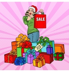 Pop art woman with shopping bag christmas sale vector