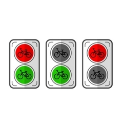 Traffic lights for cyclists flat color object vector