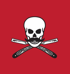 skull with crossed razors vector image