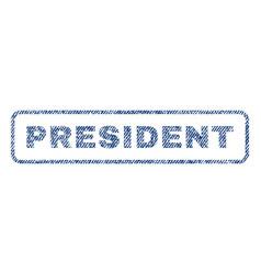 President textile stamp vector