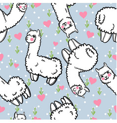 seamless pattern with cute alpacas and vector image