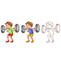 Doodle character for man lifting weights vector