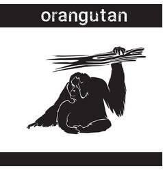 silhouette orangutan in grunge design style animal vector image