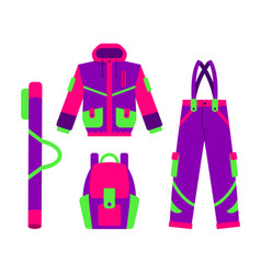 Skiing hiking winter sport down jacket vector