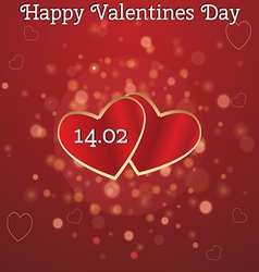 Card for valentines day with two hearts vector