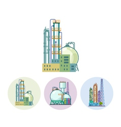 Set icons of a chemical plant vector