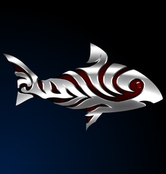 Steel fish with tribal tatoo 01 vector