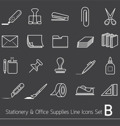 Office Supplies and Stationery Line Icons Set vector image