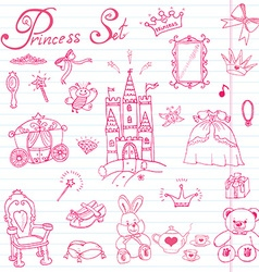 Hand drawn set of princess sign castel throne and vector