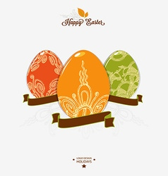 Easter logo emblem with ribbon vector