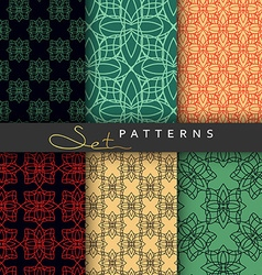 Set 6 seamless retro geometric patterns Background vector image
