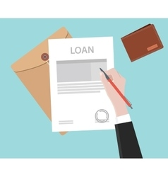 Sign a loan application on paper document vector