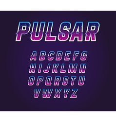 80s retro sci-fi universe pulsar font alphabet set vector