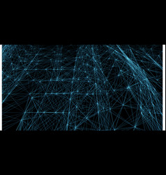 Abstract blue futuristic lines and dots grid vector