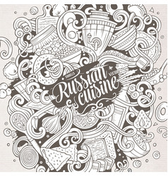 Cartoon cute doodles hand drawn russian food vector