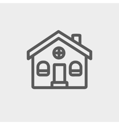 Church building thin line icon vector