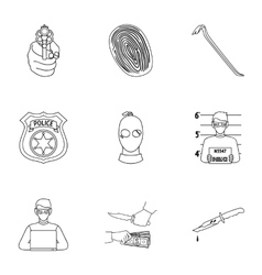 Crime set icons in outline style Big collection vector image vector image
