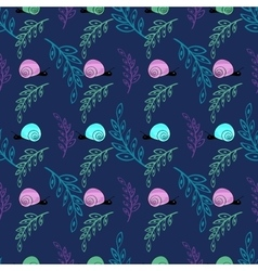 Cute little snail natural background pattern vector image