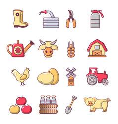 farm agricultural icons set cartoon style vector image