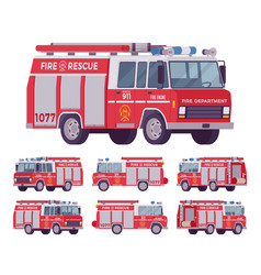 Fire engine set vector