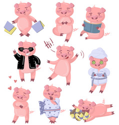 funny pig characters set piggy in different poses vector image vector image