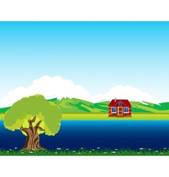 House beside streams vector image vector image