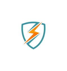 Light bolt electric shield protection logo vector