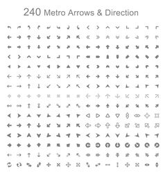 Monotone metro arrows and direction vector image vector image