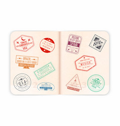 passport with visa stamps open passport pages vector image vector image