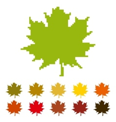 Pixel maple leaf vector image vector image