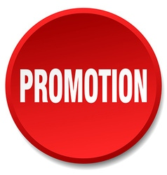 promotion red round flat isolated push button vector image vector image