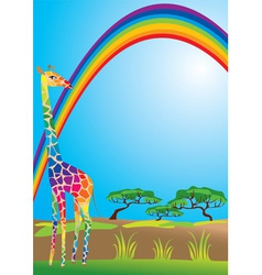 rainbow and giraffe vector image vector image