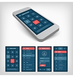set of blue ui mobile design vector image vector image